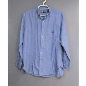 Chaps Blue Micro Check Long Sleeve Shirt Size L